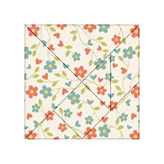 Abstract Vintage Flower Floral Pattern Acrylic Tangram Puzzle (4  X 4 )