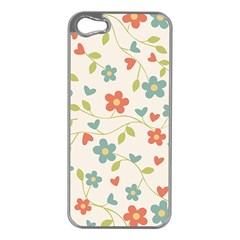 Abstract Vintage Flower Floral Pattern Apple Iphone 5 Case (silver)