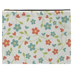 Abstract Vintage Flower Floral Pattern Cosmetic Bag (xxxl)
