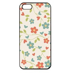 Abstract Vintage Flower Floral Pattern Apple Iphone 5 Seamless Case (black)