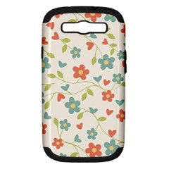 Abstract Vintage Flower Floral Pattern Samsung Galaxy S Iii Hardshell Case (pc+silicone)