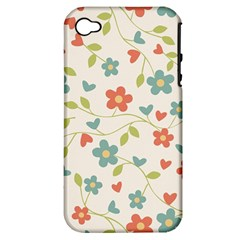 Abstract Vintage Flower Floral Pattern Apple Iphone 4/4s Hardshell Case (pc+silicone)
