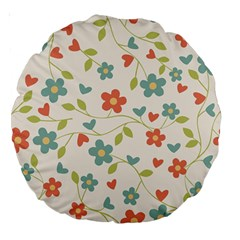 Abstract Vintage Flower Floral Pattern Large 18  Premium Round Cushions