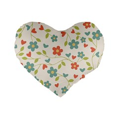 Abstract Vintage Flower Floral Pattern Standard 16  Premium Heart Shape Cushions