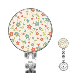 Abstract Vintage Flower Floral Pattern Stainless Steel Nurses Watch