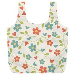 Abstract Vintage Flower Floral Pattern Full Print Recycle Bags (l)