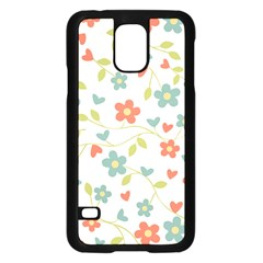 Abstract Vintage Flower Floral Pattern Samsung Galaxy S5 Case (black)