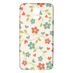 Abstract Vintage Flower Floral Pattern Samsung Galaxy S5 Back Case (white)