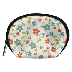Abstract Vintage Flower Floral Pattern Accessory Pouches (medium)