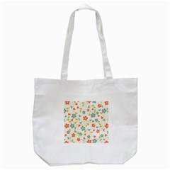 Abstract Vintage Flower Floral Pattern Tote Bag (White)