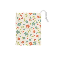 Abstract Vintage Flower Floral Pattern Drawstring Pouches (small)