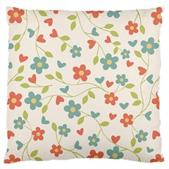 Abstract Vintage Flower Floral Pattern Large Flano Cushion Case (one Side)