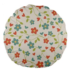 Abstract Vintage Flower Floral Pattern Large 18  Premium Flano Round Cushions