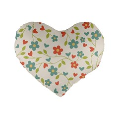 Abstract Vintage Flower Floral Pattern Standard 16  Premium Flano Heart Shape Cushions