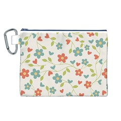 Abstract Vintage Flower Floral Pattern Canvas Cosmetic Bag (l)