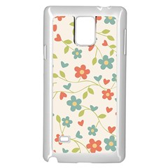 Abstract Vintage Flower Floral Pattern Samsung Galaxy Note 4 Case (White)