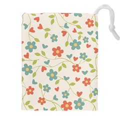 Abstract Vintage Flower Floral Pattern Drawstring Pouches (xxl)