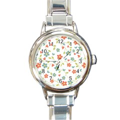 Abstract Vintage Flower Floral Pattern Round Italian Charm Watch