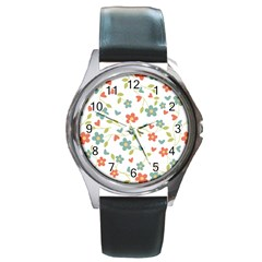 Abstract Vintage Flower Floral Pattern Round Metal Watch