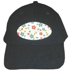 Abstract Vintage Flower Floral Pattern Black Cap
