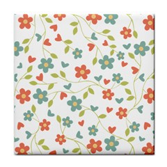 Abstract Vintage Flower Floral Pattern Tile Coasters