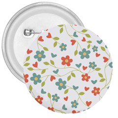 Abstract Vintage Flower Floral Pattern 3  Buttons