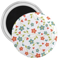 Abstract Vintage Flower Floral Pattern 3  Magnets