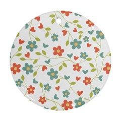 Abstract Vintage Flower Floral Pattern Ornament (round)