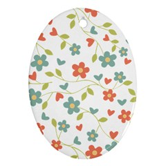 Abstract Vintage Flower Floral Pattern Ornament (Oval)