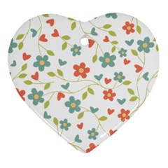 Abstract Vintage Flower Floral Pattern Ornament (heart)