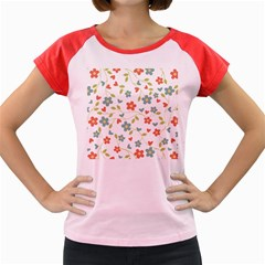 Abstract Vintage Flower Floral Pattern Women s Cap Sleeve T Shirt
