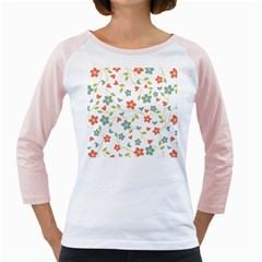 Abstract Vintage Flower Floral Pattern Girly Raglans