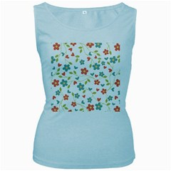 Abstract Vintage Flower Floral Pattern Women s Baby Blue Tank Top