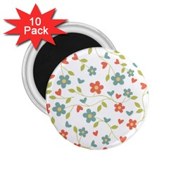 Abstract Vintage Flower Floral Pattern 2 25  Magnets (10 Pack)