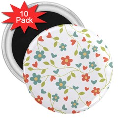 Abstract Vintage Flower Floral Pattern 3  Magnets (10 Pack)