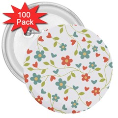 Abstract Vintage Flower Floral Pattern 3  Buttons (100 Pack)