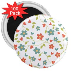 Abstract Vintage Flower Floral Pattern 3  Magnets (100 Pack)