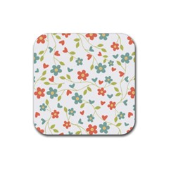 Abstract Vintage Flower Floral Pattern Rubber Square Coaster (4 Pack)