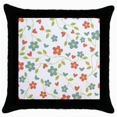 Abstract Vintage Flower Floral Pattern Throw Pillow Case (Black)