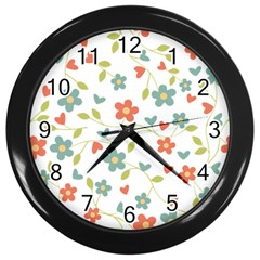 Abstract Vintage Flower Floral Pattern Wall Clocks (black)