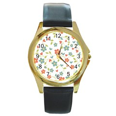 Abstract Vintage Flower Floral Pattern Round Gold Metal Watch