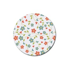 Abstract Vintage Flower Floral Pattern Rubber Round Coaster (4 Pack)