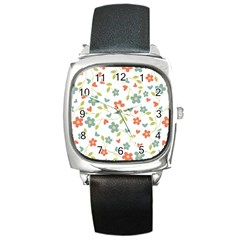 Abstract Vintage Flower Floral Pattern Square Metal Watch