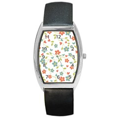 Abstract Vintage Flower Floral Pattern Barrel Style Metal Watch