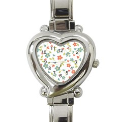 Abstract Vintage Flower Floral Pattern Heart Italian Charm Watch