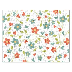 Abstract Vintage Flower Floral Pattern Rectangular Jigsaw Puzzl