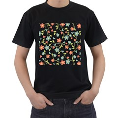 Abstract Vintage Flower Floral Pattern Men s T Shirt (black) (two Sided)