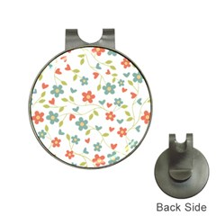 Abstract Vintage Flower Floral Pattern Hat Clips With Golf Markers
