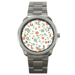 Abstract Vintage Flower Floral Pattern Sport Metal Watch