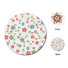 Abstract Vintage Flower Floral Pattern Playing Cards (round)